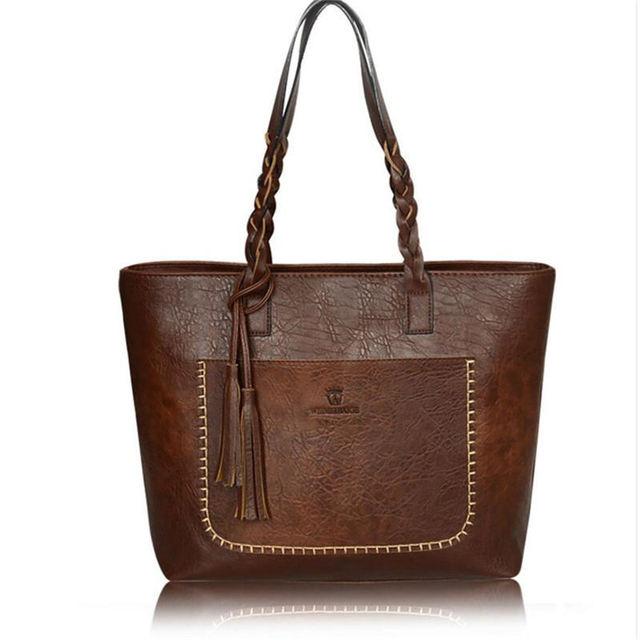 2016 Mulheres Da Moda Sacos de Ombro das Mulheres de Couro Pu Bolsa Do Vintage Bolsa de Borla Bolsas Mujer Chic Shopping Tote Bags sac a principal