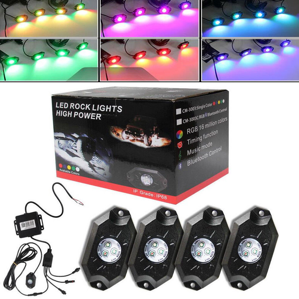 CO LIGHT Led Rock Lights 4Pcs with Canbus and Remote Control for 4X4 Off Road Jeep Wrangler Jk Lada Car-styling Parking BoatingCO LIGHT Led Rock Lights 4Pcs with Canbus and Remote Control for 4X4 Off Road Jeep Wrangler Jk Lada Car-styling Parking Boating