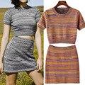 Vancol женщин хлопка тонкий мини-платье сексуальная полосатый 2 шт. урожай лучших и юбка комплект трикотажные Bodaycon комплект женщин 2016 весна
