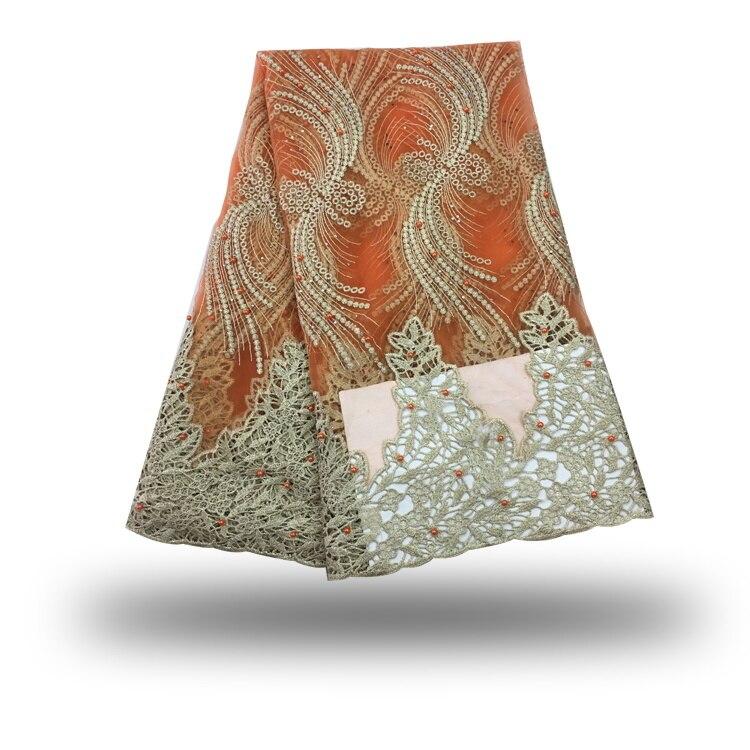 ฝรั่งเศสสุทธิลูกไม้ผ้าที่มีคุณภาพสูง2017 T Ulleแอฟริกันลูกไม้ผ้าด้วยลูกปัดหินไนจีเรียลูกไม้ชุดแต่งงานสีส้ม5 yard/จำนวนมาก-ใน ลูกไม้ จาก บ้านและสวน บน AliExpress - 11.11_สิบเอ็ด สิบเอ็ดวันคนโสด 1