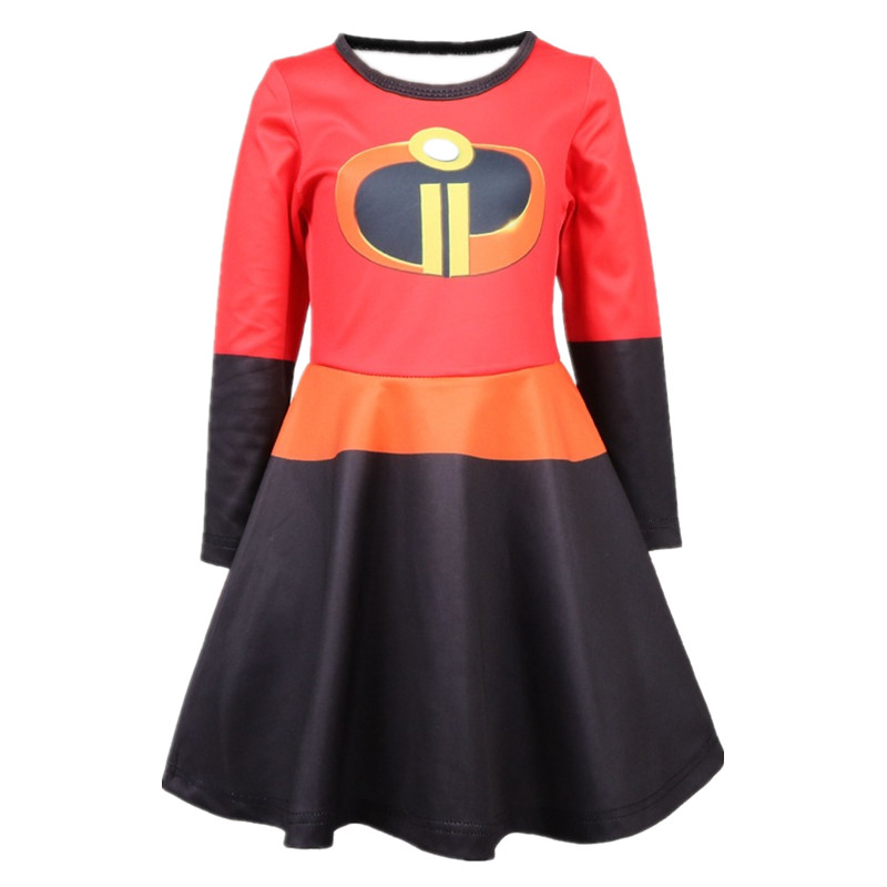 2018 The Incredibles Girl Cosplay Dresses Halloween Costume Dress Kids Clothes Princess Party Clothing цена 2017