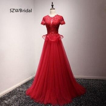 Evening dress High Neck Short sleeve Ever-Pretty 2020 Sexy Backless Red A-Line Evening gowns Plus size vestido de festa