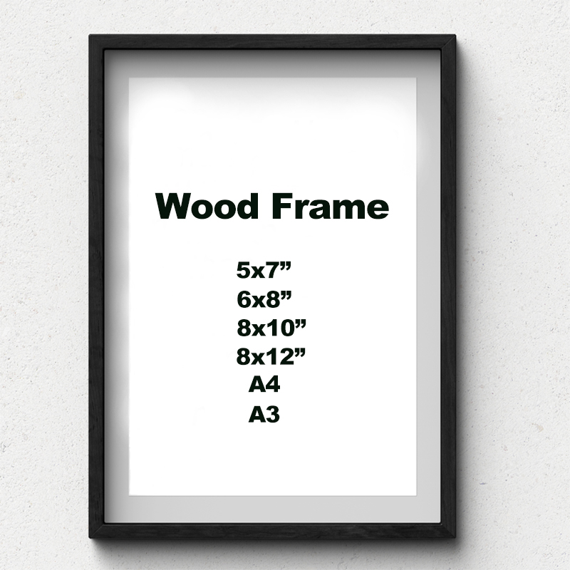 Wooden-Frame Picture Wall-Mounting Black White A4 A3 With Mats Solid For Hardware Included