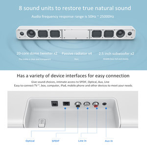 Image 5 - Xiao Mi ไร้สายโฮมเธียเตอร์ลำโพง Mi Soundbar SPDIF Optical AUX Line Sound Bar สนับสนุน Xiao Mi Samsung LG TV