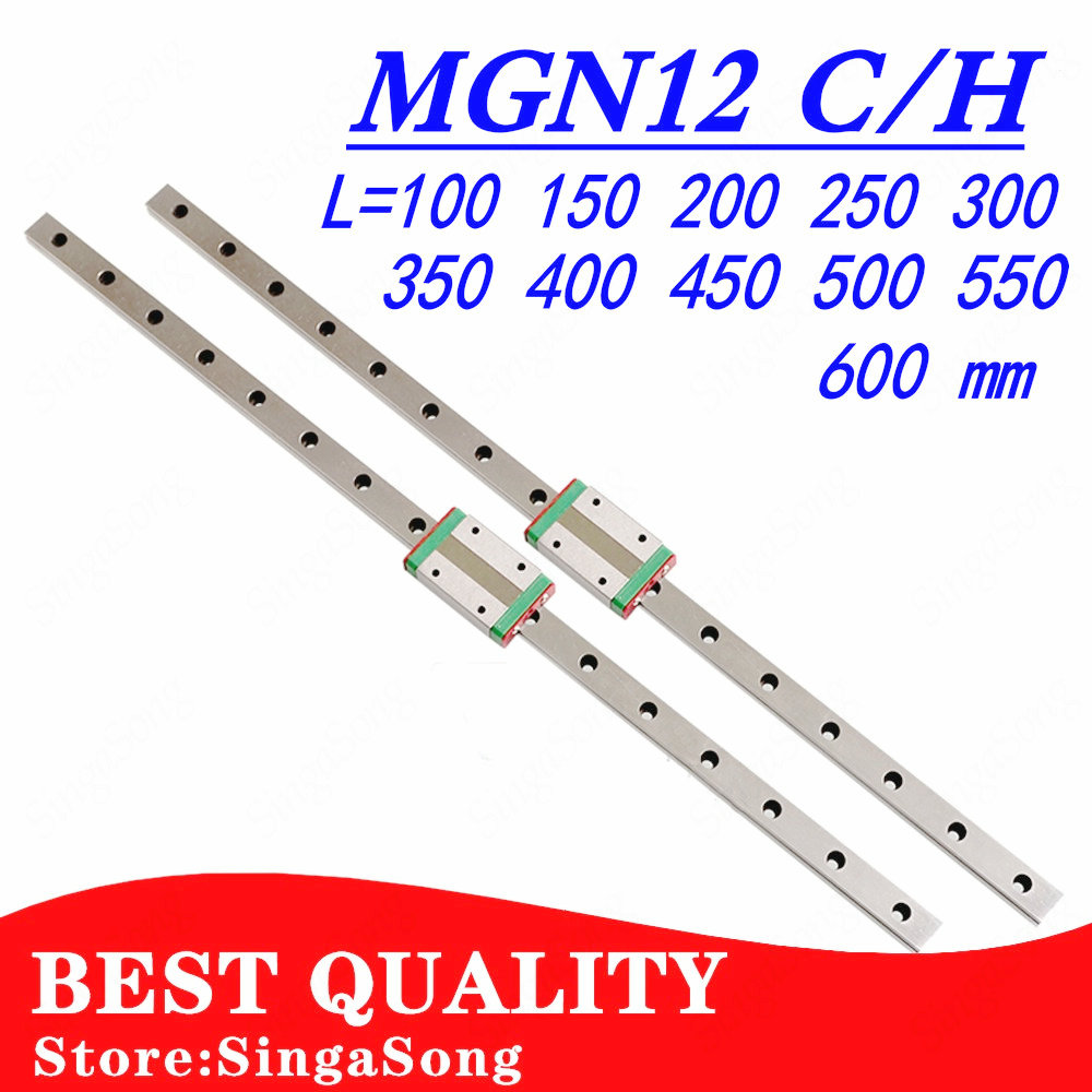 12mm Linear Guide MGN12 100 150 200 250 300 350 400 450 500 550 600 Mm Linear Rail + MGN12C Or MGN12H Carriage