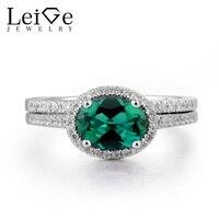 Лейдж украшений Изумрудный обручальное кольцо Изумрудное кольцо может камень овальным вырезом Зеленый камень стерлингового серебра 925 люк