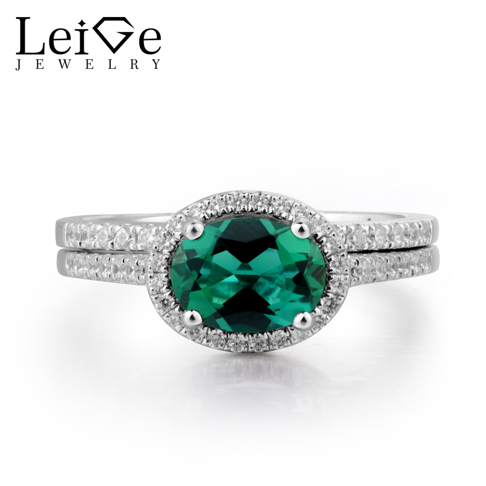 Leige Jewelry Emerald Wedding Ring Emerald Ring May Birthstone Oval Cut Green Gemstone 925 Sterling Silver Bridal Sets for Women цена