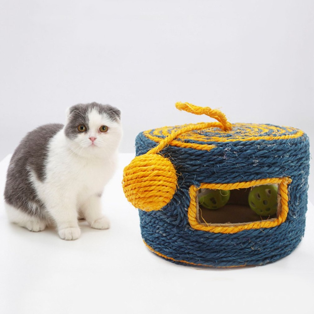 Natural Sisal Pets Cats Toys Funny Wear-Resistant Cats Playing Post Trapped With Bell Balls Pet Cats Training Supplies