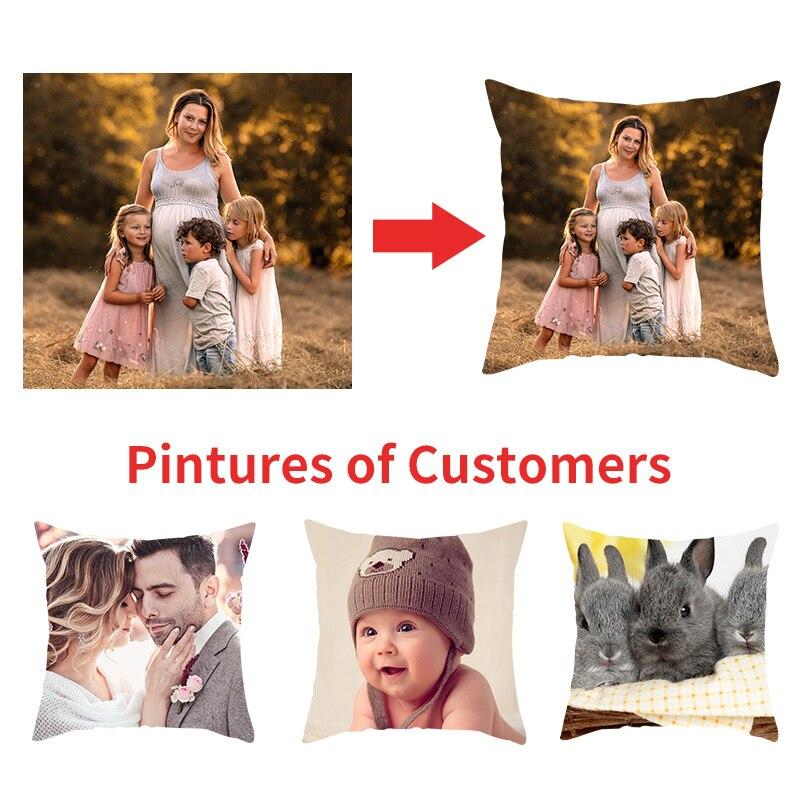 Fuwatacchi Personalização de Linho Capas de Almofada Família Foto Pessoal Personalizar Fronha para Cadeira Home Decor Presentes Fronha