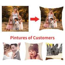 Fuwatacchi Linen Customization Cushion Covers Family Personal Photo Customize Pillow Cover for Home Chair Decor Gifts Pillowcase