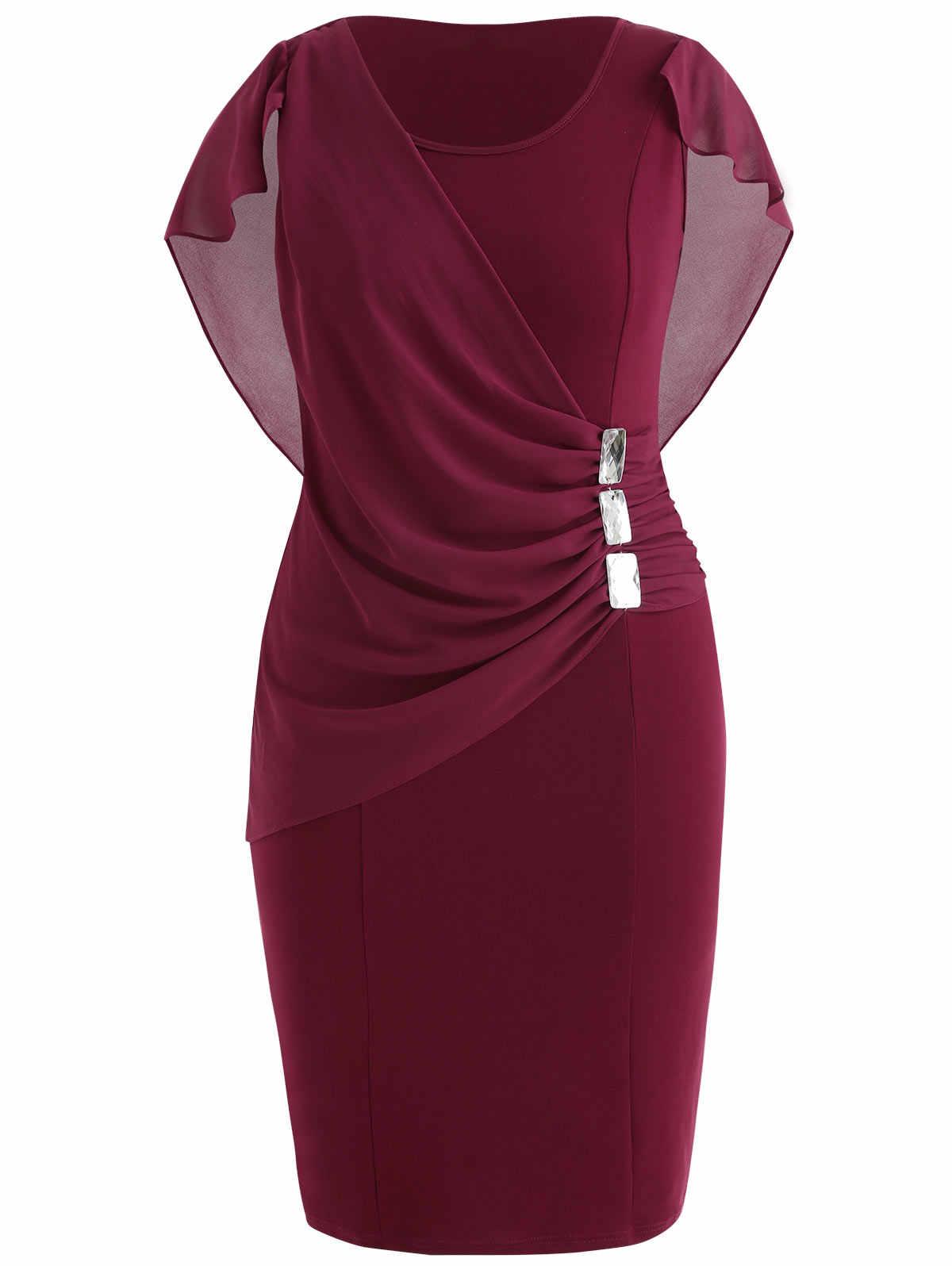 Wipalo de talla grande 5XL Capelet longitud de la rodilla ajustado vestido de fiesta mujeres sin mangas cuello redondo vestido de envoltura de diamantes de imitación superposición Vestidos