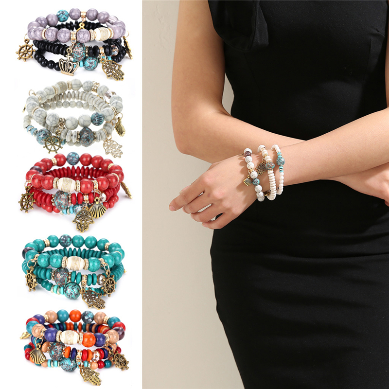 Women's Hand Crown Shell Multilayer Bangle Beads Jewelry Bracelet