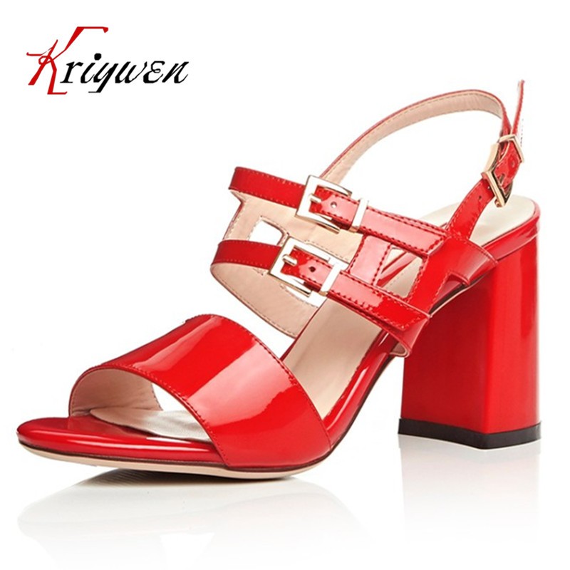 100% real leather 2016 Summer fashion women party shoes red black white thick high heels ladies sandals for wedding casual shoes
