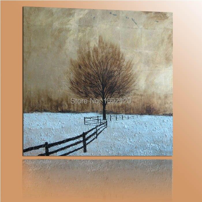 Ručně malované zimní strom krajina moderní abstraktní olejomalba na plátně zdi umění dekor pro obývací pokoj jako jedinečný dárek