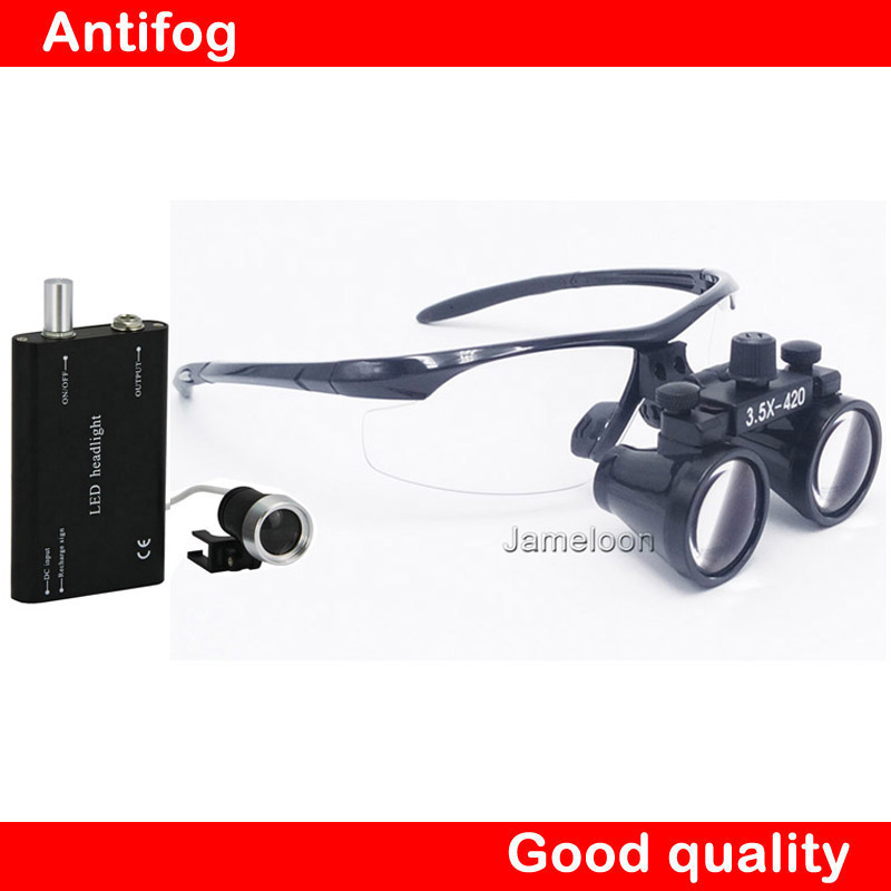 3.5X medical magnifier dental Loupe operation surgical magnify with portable LED power head light 3led magnifier for dental surgical and watch repairing and reading magnifier with lighted adjustable helmet head mounted magnify