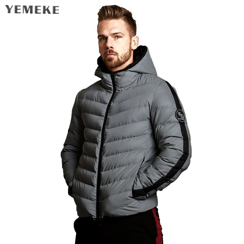Yemeke Model Winter Coat Males Informal Hoodied Patchwork Cotton Comfy Males Clothes Winter Jacket Males
