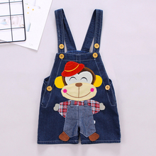DIIMUU Chidlren Clothing Boys Girls Overalls Cartoon Jumpsuits Toddler Baby Clothes Shorts Denim Pants Bottoms For 1-3Years