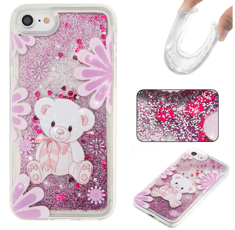 For iPhone Case For 4 4S 5 5S SE 6 7 8 x Puls Cover New Glitter Star Purple big bear Flower Quicksand Skin Silicon TPU Shell
