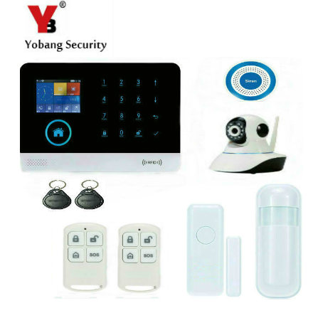 YobangSecurity Wireless WIFI GSM SMS RFID Communicating Intruder Burglar Home Alarm System Wireless IP Camera Siren Android IOS yobangsecurity touch keypad wireless wifi gsm home security burglar alarm system wireless siren wifi ip camera smoke detector