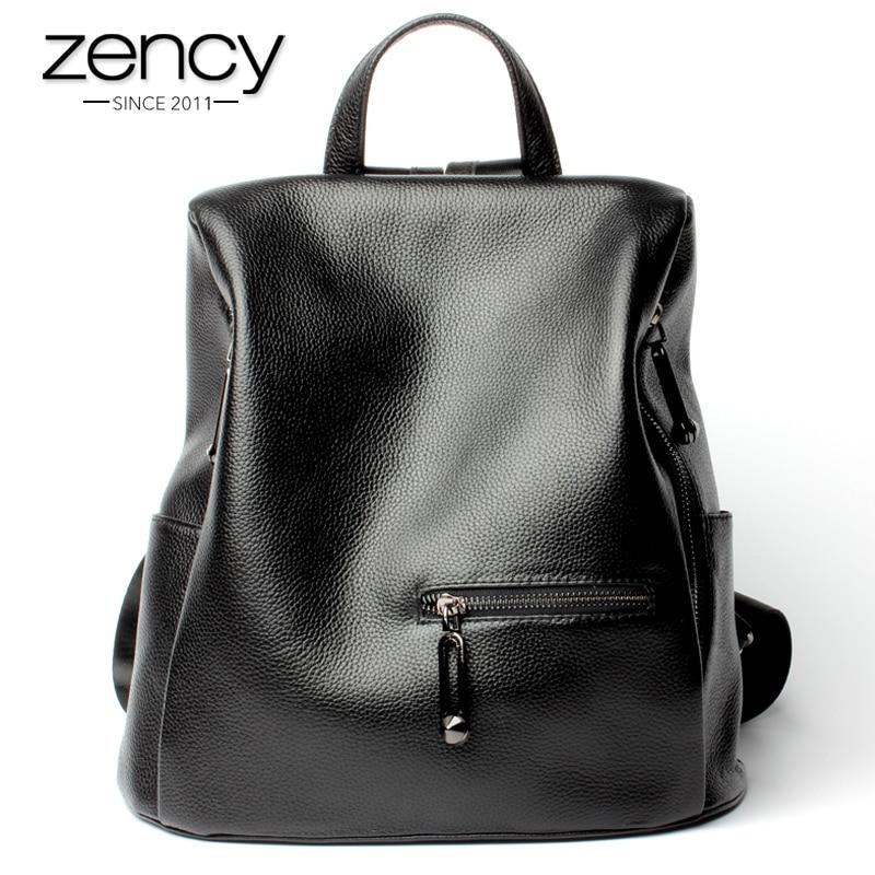 Zency Moda Mochila de mujer 100% cuero genuino negro mochila niñas mochila portátil diario bolsa de viaje ocasional de alta calidad