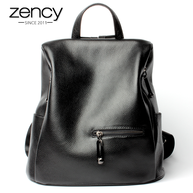 Zency Fashion Women's Backpack 100% Genuine Leather Black Knapsack Girls Schoolbag Notebook Daily Casual Travel Bag High Quality