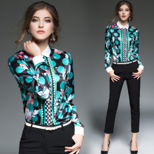 High Quality Women Floral Print Polo Blouse Cardigan Tops Blouse Female 2017 Summer OL Women's CHIFFON Silk Blouse Shirts JA2503