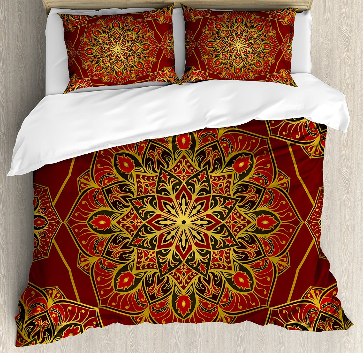 Maroon Duvet Cover Set Rich Colorful Ornament Symbol of Cosmos in Arabic Style Medieval Artistic 4 Piece Bedding Set