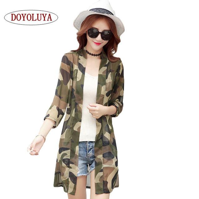 abc0044d1c8c7 [DOYOLUYA] Women Vintage Blouse Chiffon Long Camouflage Shirt Summer Casual  loose Female Tops Kimono