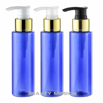 BEAUTY MISSION 100ml X 48 empty blue plastic lotion bottle, DIY cosmetic packaging PET pump bottle, plastic cosmetic bottles