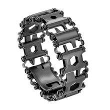 Hottime rodadura multifunción de acero inoxidable desgaste pulsera herramienta de correa destornillador abrelatas llave hexagonal Combinación libre 29 herramientas