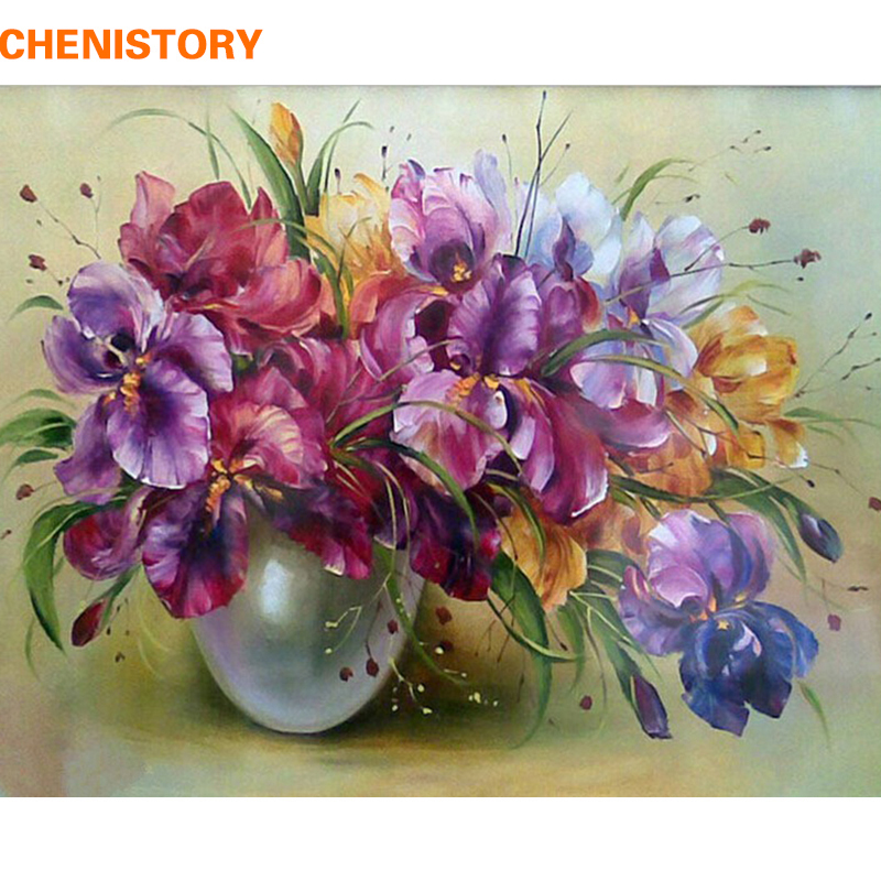 CHENISTORY Frameless Purple Flowers DIY Painting By Numbers Modern Wall Art Paint By Numbers Hand Painted For Home Decoration