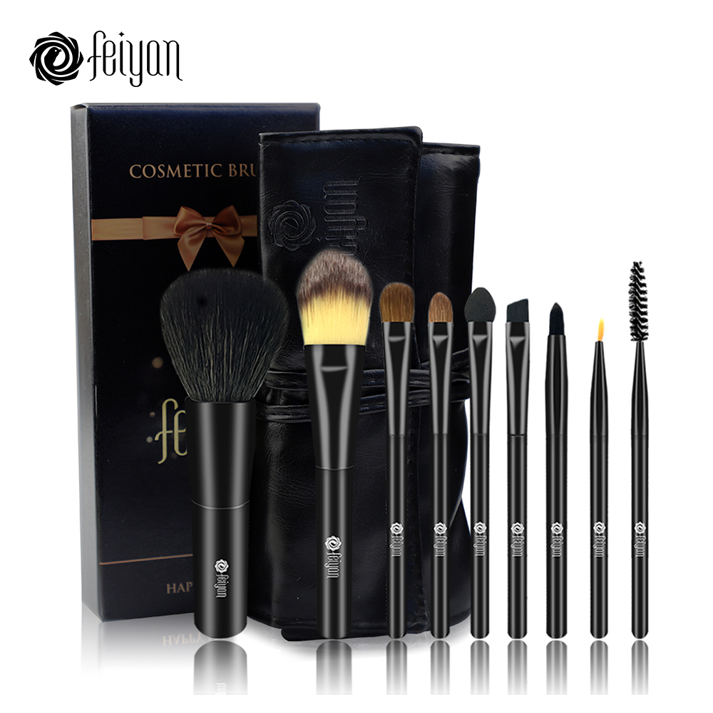 FEIYAN 9PCS Makeup Natural Animal Hair Brushes Set Pro Cosmetic Eyeshadow Powder Blush Foundation Lip Eyebrow Eyeline Brush Kit brushes natural 1pcs eyebrow foundation eyeshadow brush set 7 makeup case brushes soft wooden makeup holder cosmetic makeup hair