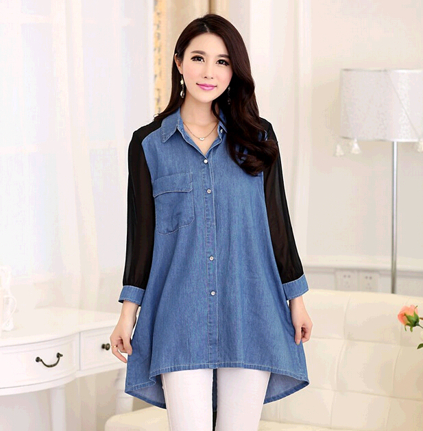 S 4XL XXXXL Summer Women Denim Shirt Tops Loose Long Sleeve Shirts ...