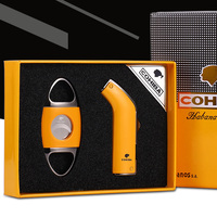 COHIBA Gadgets High Qualtiy Windproof 2 Torch Jet Flame Cigar Lighter Sharp Stainless Steel Cigar Cutter Punch with Gift Box