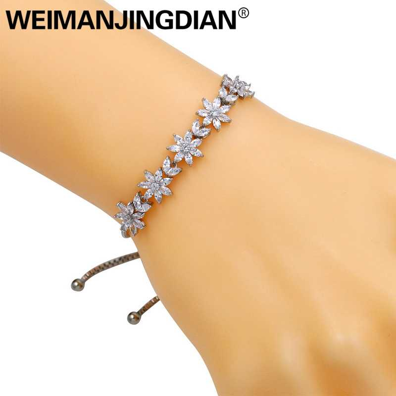 WEIMANJINGDIAN Flower Cubic Zirconia Crystal Adjustable Allure Bracelets for Women or Wedding FREE Express Delivery Order $120+