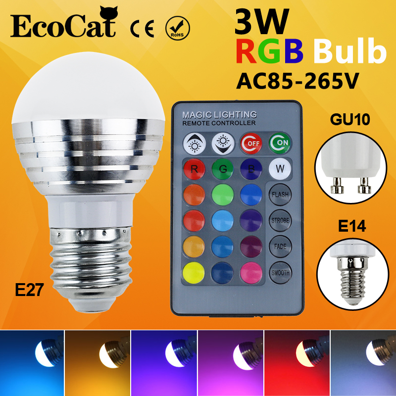 LED RGB Bulb LED E27 E14 GU10 lamp AC110V 220V 3W LED RGB Spot light dimmable magic Holiday RGB light+IR Remote Control16 colors agm rgb led bulb lamp night light 3w 10w e27 luminaria dimmer 16 colors changeable 24 keys remote for home holiday decoration