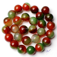 Free Shipping 14mm Smooth Round Shape Mixed Color Natural Agate Onyx Loose Beads Strand 15 DIY