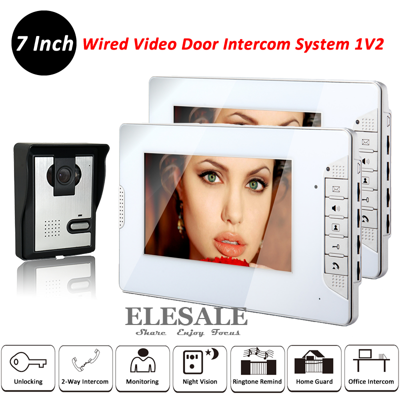 New Video Door Intercom System Video Door Phone Doorbell 1x Camera Unit 2x 7 LCD Monitors Night Vision Unlock For Home Office 4 watch pager receiver 20 call button 433mhz wireless calling paging system guest call pager restaurant equipment f3258