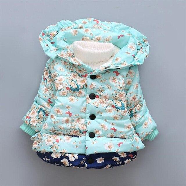 2016 новорожденных девочка одежда мода печати с капюшоном верхняя одежда для зимы теплые удобные детские хлопок снег носить 3 цвета