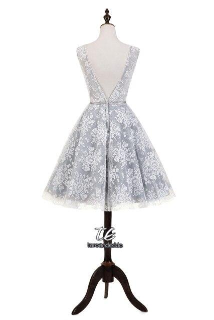 Online-Shop Grau Lace Short Homecoming Kleid Durchsichtig Spitze ...