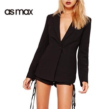asmax Black Turn-down Collar Plunging Blazer Sexy Cut Out Back Lace-up OL Coat One Botton Solid Casual Slim Coat