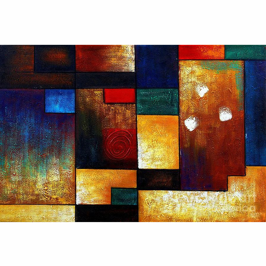 Hand Painted Modern Thick Texture Abstract Geometric Shapes Colorful Oil