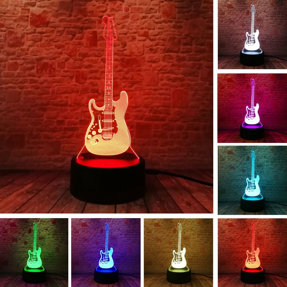 Creative Cartoon 3D Electric Music Guitar Bass Model Illusion Lamp LED 7 Color Change Gradient Baby Child Sleep Night Light Gift