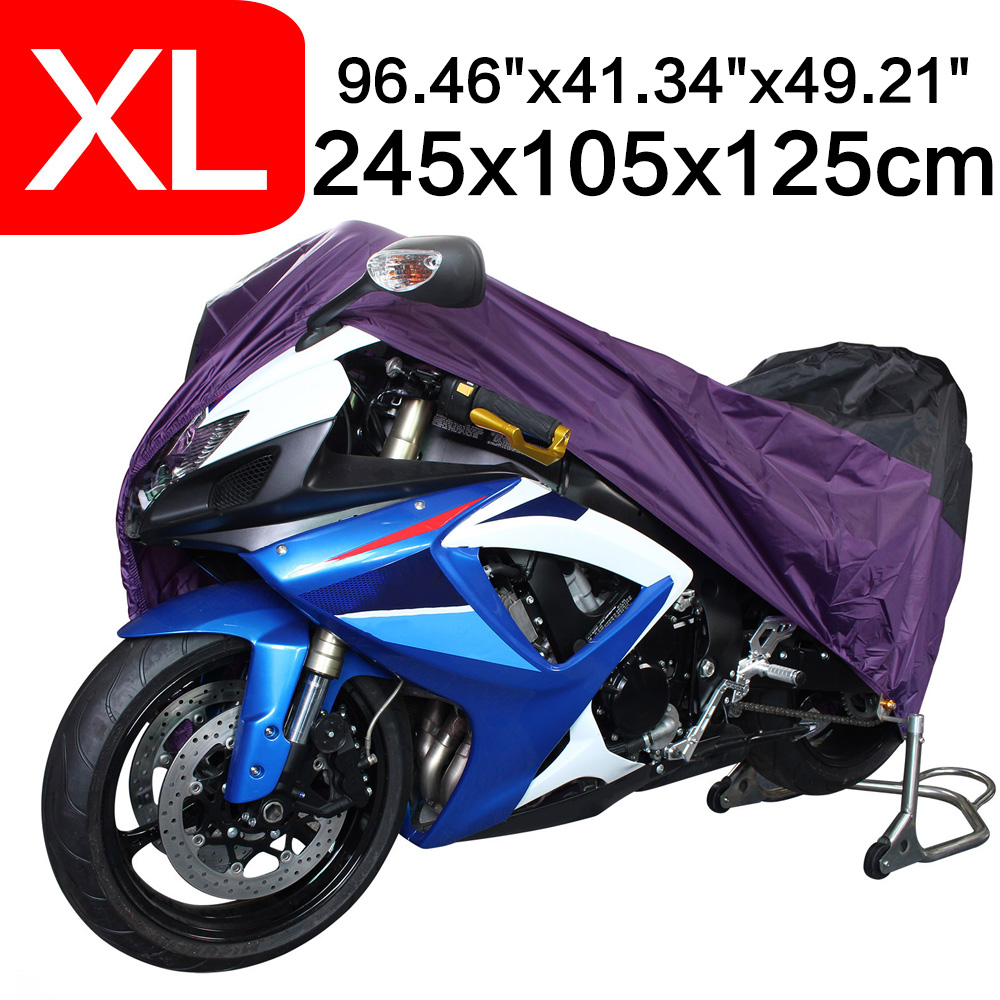 XL 245*105*125cm Motorcycle Covering Waterproof Scooter Cover UV resistant Heavy Racing Bike Cover Outdoor Purple D25