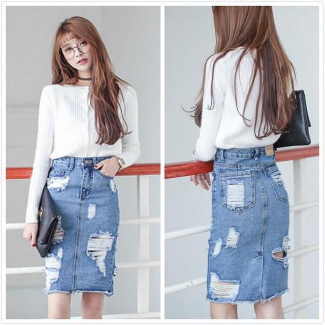 best sell new cheap later 3XL Plus Size Denim Skirt Women 2016 Autumn/Winter Vintage ...