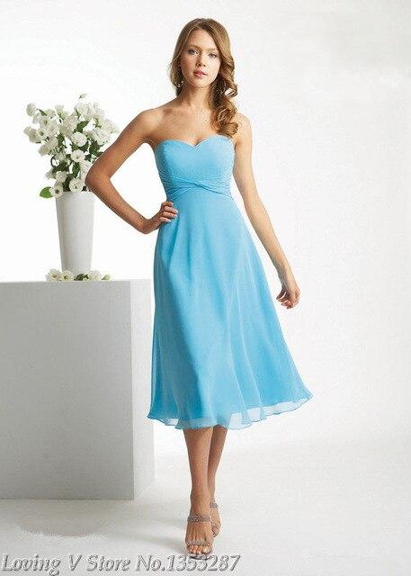 Sky Blue Bridesmaid Dress New Arrival Short Strapless Plus Size ...
