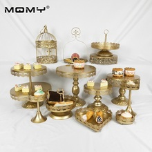 13 Pcs/ set  Gold Decoration With Crystal 2 Tier Metal Cupcake Wedding Cake Stand