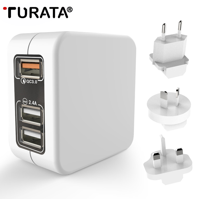 TURATA 3 Port Quick USB Charger 3.0 US EU UK AU Plugs Travel Wall Charger Adapter for iPhone Samsung Xiaomi Phone USB Charger