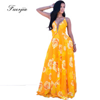 RuiYiGe 2017 New Golden Yellow Deep V Printed Chiffon Back Cross Dresses Large Dressing Summer Beach