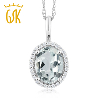 10K White Gold 1 10 Ct Oval Sky Blue Aquamarine And Diamonds Pendant With Chain